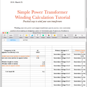 Single Ended Output Transformer Calculating Excel Spreadsheet With
